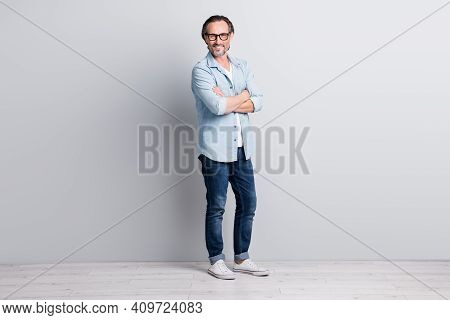 Full Body Photo Of Mature Handsome Man Happy Smile Confident Folded Hands Isolated Over Grey Color B