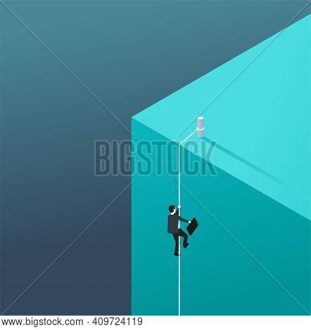Business Growth And Professional Strategy Concept - Businessman Climbing A Rope From The Bottom Of T