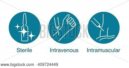 Medications For Syringe Injection Properties. Sterile, Intravenous, Intramuscular Icons Set For Pack