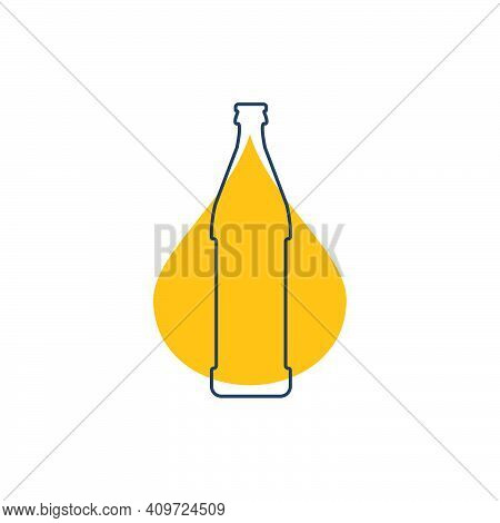 Modern Abstract Illustration With Bottle Beer With Yellow Blob. Linear Outline Sign. Logo Icon On Wh