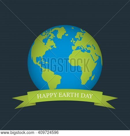 Happy Earth Day. World Environment Day. Green Earth Globe On Dark Blue Background. Vector
