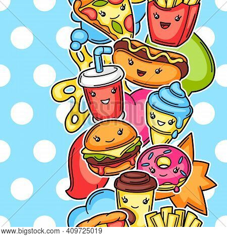 Seamless Pattern With Cute Kawaii Fast Food Meal. Tasty Funny Characters Of Fastfood.