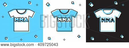Set T-shirt With Fight Club Mma Icon Isolated On Blue And White, Black Background. Mixed Martial Art