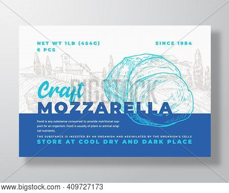 Dairy Food Label Template. Abstract Vector Packaging Design Layout. Modern Typography Banner With Ha