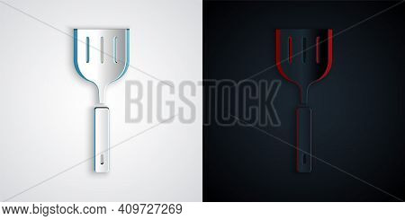 Paper Cut Spatula Icon Isolated On Grey And Black Background. Kitchen Spatula Icon. Bbq Spatula Sign