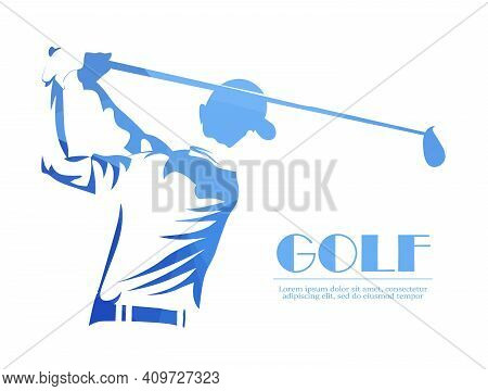 Golf Player Vector Logo, Abstract Blue. Silhouette Of A Golf Player. Vector Illustration