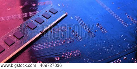 Computer Memory Ram On Circuit Motherboard Background . Close Up. System, Main Memory, Random Access