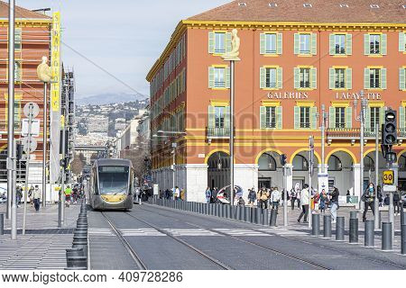 Nice, France - 18.02.2021: Electric Trams On A Street Of Nice, France. Place Massena City Center. .