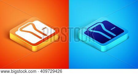 Isometric Bathrobe Icon Isolated On Orange And Blue Background. Vector
