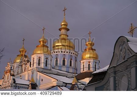 Golden Domes Of St. Michaels Cathedral In Kiev Against The Sky