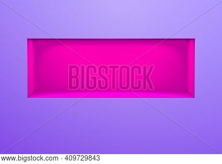 Neon Lightened Wall Niche Or Shelf With Purple Glow On The Violet Wall In 80s Cyberpunk Or Vaporwave