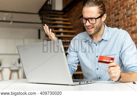 Young Businessman Faced With A Problem While Paying By Credit Card, Not Enough Money In The Bank Acc