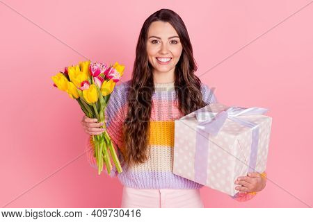 Portrait Of Attractive Cheerful Girl Holding In Hands Tulips Giftbox Festal Event Congrats Isolated