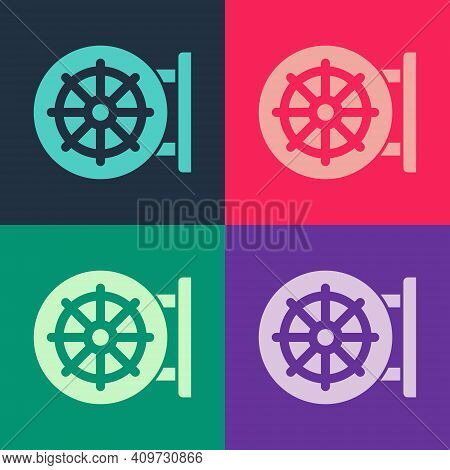 Pop Art Dharma Wheel Icon Isolated On Color Background. Buddhism Religion Sign. Dharmachakra Symbol.