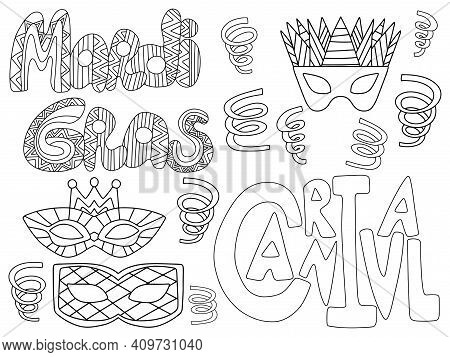 Fat Tuesday Elements Set Stock Vector Illustration. Mardi Gras Horizontal Coloring Page For Kids And