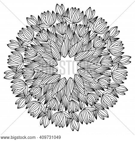 Blossom Striped Tulip Flowers Mandala Stock Vector Illustration. Funny Springtime Floral Elegant Col