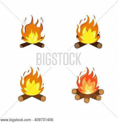 A Collection Of Flaming And Fiery Icons And Symbols. Vector Illustration.