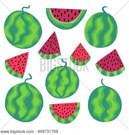 Watermelon Summer Set Stock Vector Illustration. Whole And Sliced Fruits Isolated On White. Funny Ca