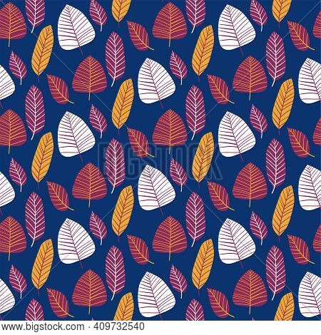 Wild Plant Leaves Vibrant Seamless Pattern Vector. Floral Blue, Purple, Yellow And White Colors Endl