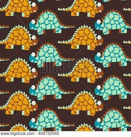 Stegosaurus Dinosaurs Seamless Pattern Vector. Childish Dinosaurs In Natural Orange And Green Colors