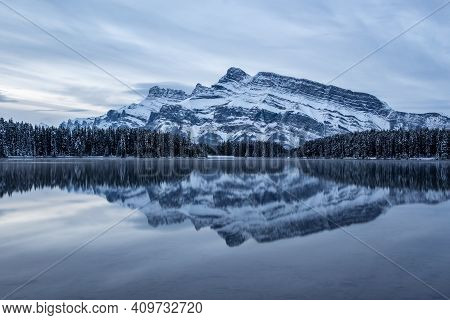 Two Jack Lake And Mt Rundle During Late Fall In Banff National Park In Late Fall, Alberta Canada