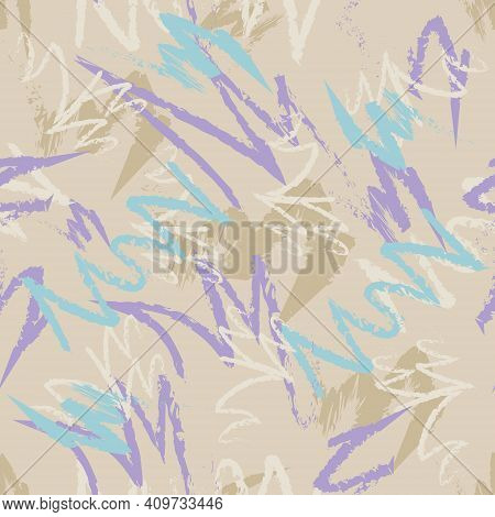 Multicolored Hand-drawn Lines. Seamless Abstract Background. For Textile, Wallpaper, Fabric And Back