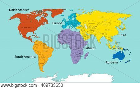 World Map Divided Into Six Continents In Different Color. World Map 6 Continents Isolated. Vector St