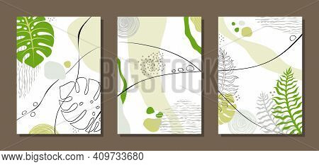 Set Of Three Paintings. Abstract Posters With Monstera Leaves, Plant Elements, Colorful Spots, Point