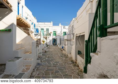 Castro (kastro), The Oldest Part Of The Chora Town On Folegandros Island. Cyclades, Greece