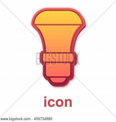 Gold Led Light Bulb Icon Isolated On White Background. Economical Led Illuminated Lightbulb. Save En