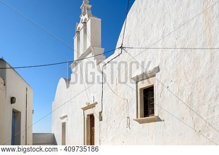 The Church In Castro (kastro), The Oldest Part Of The Chora Town On Folegandros Island. Cyclades, Gr