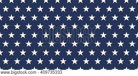 Star Seamless Pattern. Usa Flag. White Stars On Blue Background. Stock Vector. Eps 10