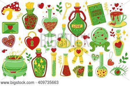 Love Potion. Doodle Magical Elixir. Bottles And Vials With Alchemical Beverages