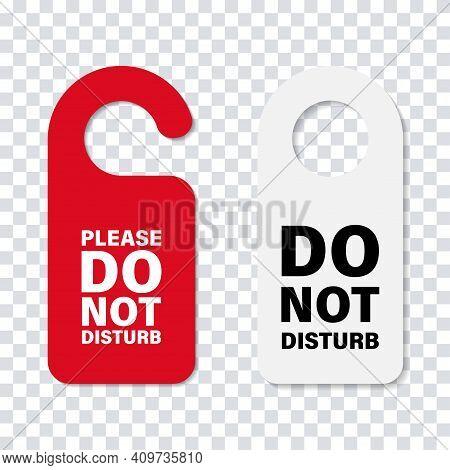 Do No Disturb Handle Door Sign. Vector Isolated Hoter Service Cardboard Sign. Hoted Door Message. St