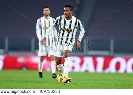 Torino, 22th February 2021. Alex Sandro Of Juventus Fc  During The Serie A Match Between Juventus Fc