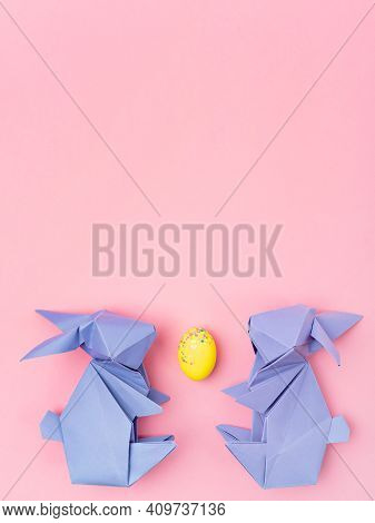 Easter Paper Decorations, Seasonal Pattern. Cute Origami Purple Bunnies. Creative Holiday Compositio