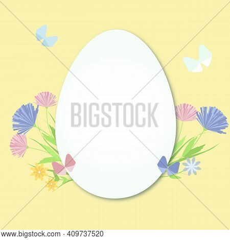 Easter Egg With Spring Flowers And Butterflies. Illustration. A White Egg On A Yellow Background. Su