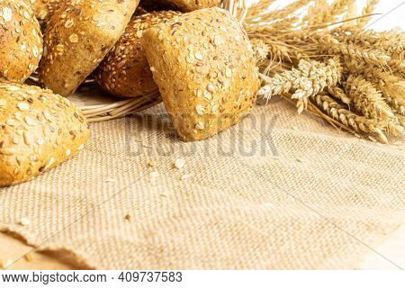 Home Baked Bread. Rye Bakery With Crusty Loaves And Crumbs. Fresh Rustic Traditional Bread With Whea