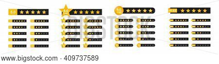 Star Rating With Numbers. Star Icon. Set Of Star Rating Symbols. Customer Feedback Concept. Vector 5