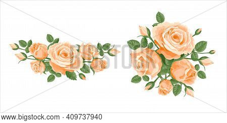 Bouquet, Garland Of Roses. Vector Flower Posy Decoration For Anniversary, Cards, Greetings. Valentin