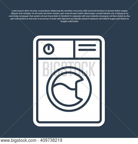 Blue Line Washer Icon Isolated On Blue Background. Washing Machine Icon. Clothes Washer - Laundry Ma