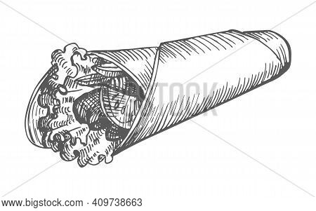 Shawarma Hand Drawn. Vector Illustration Of A Vintage Shawarma Sketch Hand Drawn Isolated On A White
