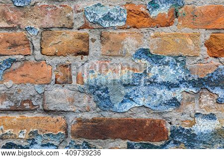 Decayed Bricks Wall Old Rundown House Background