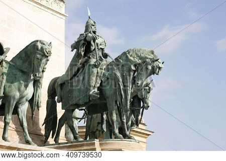 Budapest, Hungary 11.02.2021: Equestrian Statues Of Seven Hungarian Chieftains Leaders On Heroes Squ