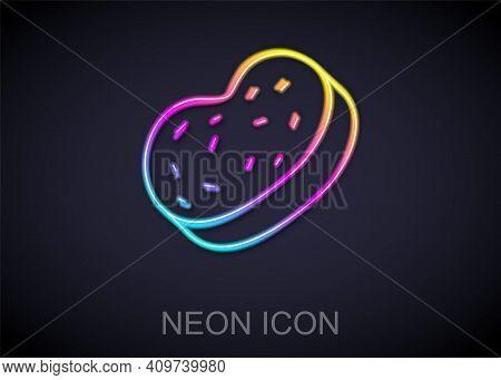 Glowing Neon Line Bath Sponge Icon Isolated On Black Background. Sauna Sponge. Vector