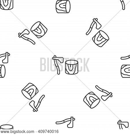 Grey Line Wooden Axe In Stump Icon Isolated Seamless Pattern On White Background. Lumberjack Axe. Ax