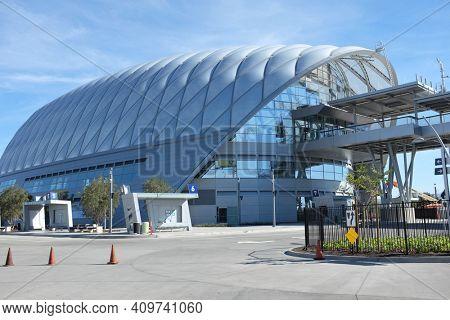 ANAHEIM, CA - FEBRUARY 11, 2015: Anaheim Regional Transportation Intermodal Center. The terminal serves Amtrak and Metrolink rail lines, and a terminal for Megabus, OCTA and Anaheim Resort Transit.