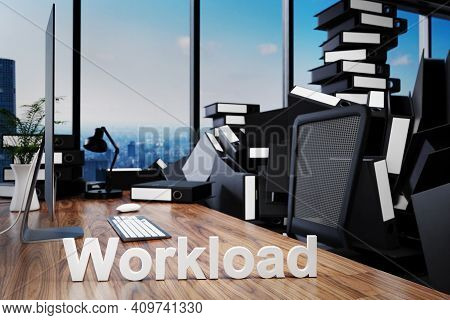 Large Pile Of Document Folders And Stack Of Ring Binders Flooding Office Workplace With Pc And Skyli