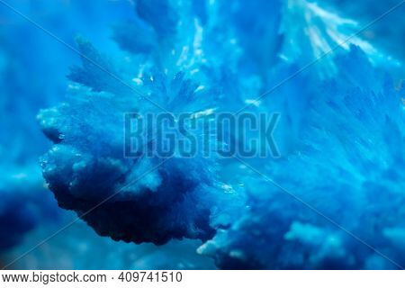 Blue Crystal. Macro Of Abstract Blue Crystal. Crystal Background