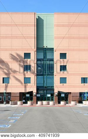ANAHEIM, CA, FEBRUARY 11, 2015: Building Detail of the Honda Center in Anaheim, California. The arena is home to the NHL's Ducks and Arena Football Leagues Kiss.